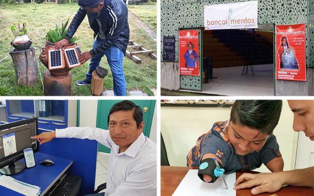 En la gráfica los proyectos de Hernán Asto -Perú-, Olga Bocarejo -Colombia-, Marco Antonio Checa Cabrera -Ecuador- y Sebastián Arroyo -Ecuador-.