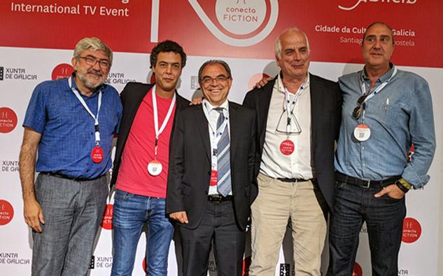 """Fernando López Puig (Rtve), Josep Cister (Boomerang TV), Rodolfo Domínguez Alfageme, (Rtve), Rafael Bardem (Rtve) y Jorge Redondo (Boomerang TV), partícipes del proyecto """"Inés del alma mía"""", presentado el año pasado en Conecta FICTION."""