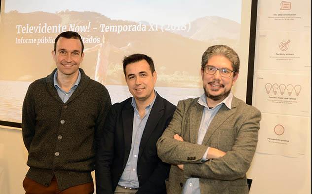 Álvaro Yusti, gerente de análisis de TV de Movistar+; Antonio Pérez, director de investigación de Ymedia; y Felipe Romero, CEO de The Cocktail.