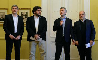 El presidente Mauricio Macri en el momento de anunciar el fondeo oficial al sector audiovisual.