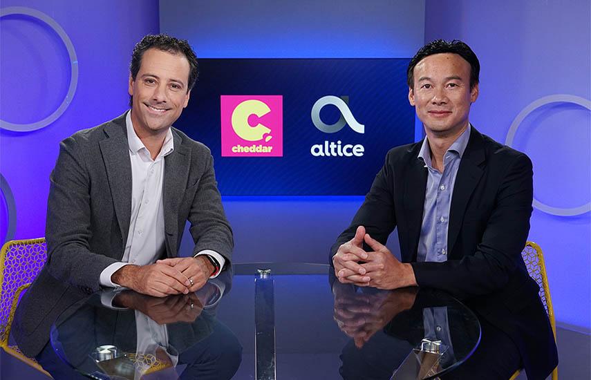 El fundador y CEO de Cheddar, Jon Steinberg, y Dexter Goei, CEO de Altice USA.