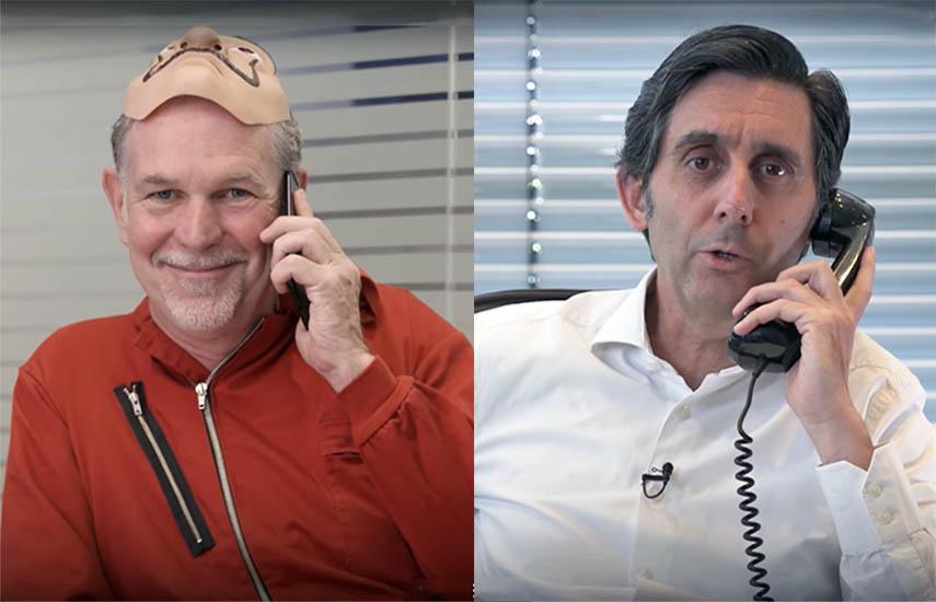 El CEO de Netflix, Reed Hastings junto al presidente de Telefónica, José María Álvarez-Pallete, hicieron público el acuerdo en mayo pasado a través de un video..