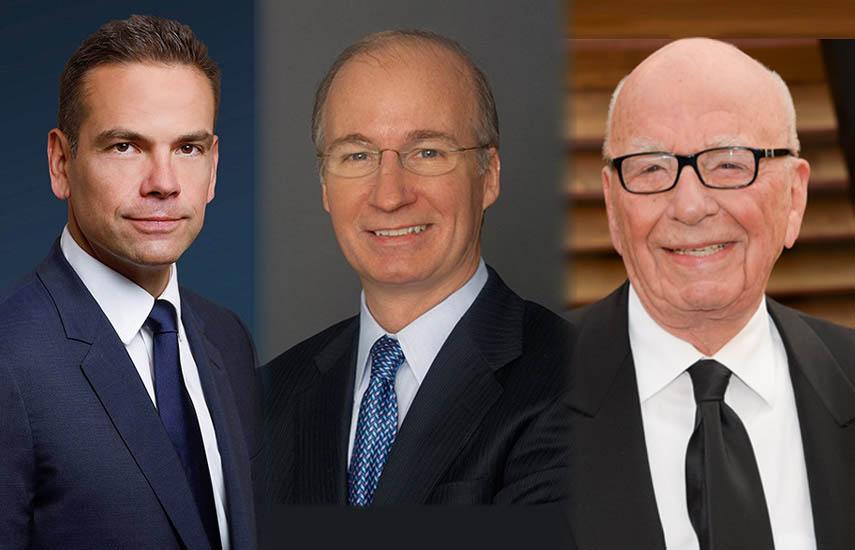 Lachlan Murdoch, John P. Nallen y el patriarca Rupert Murdoch
