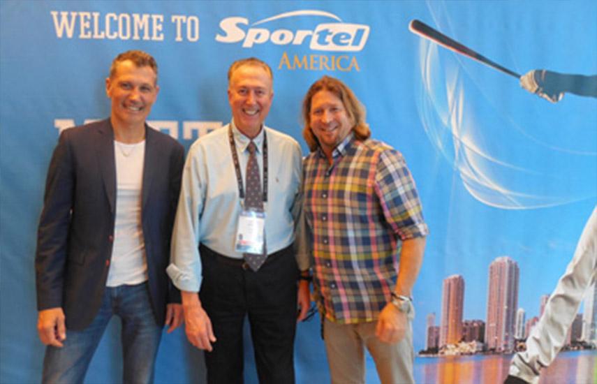 Laurent Puons, vicepresidente de Sportel; Dom Serafini y David Jones, responsable del marketing de Sportel.