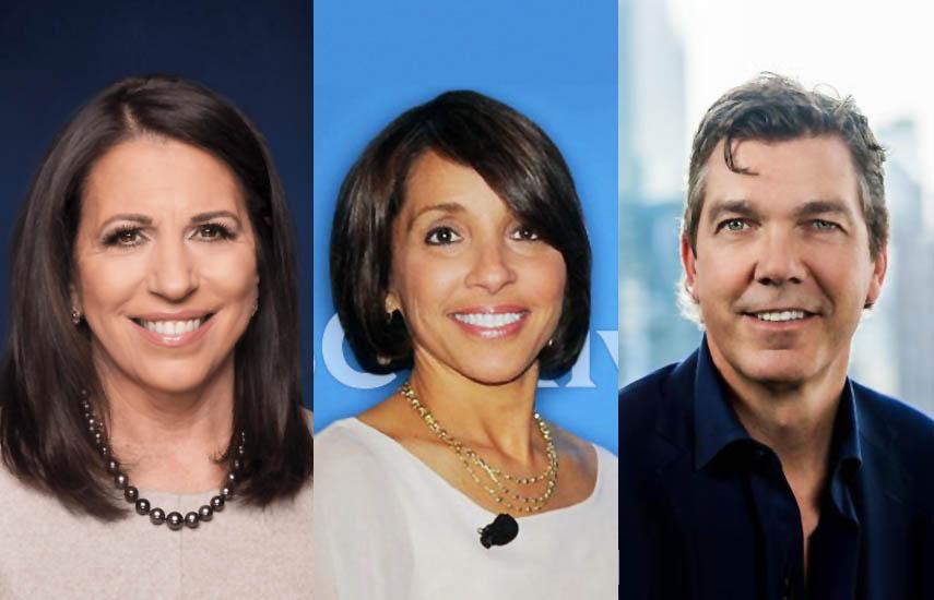 Marianne Gambelli, presidenta de Ventas de Publicidad de Fox, Linda Yaccarino, presidenta de Publicidad y Asociaciones de Clientes de NBCUniversal y Sean Moran, director de Soluciones Publicitarias de Viacom.