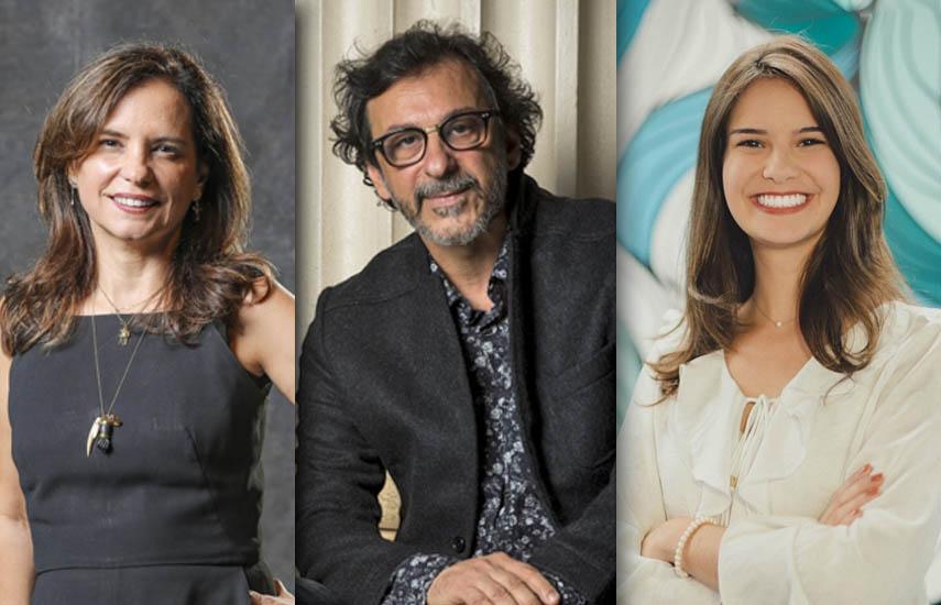 Protagonistas del Showcase de Globo: La autora Ángela Chaves; el director Carlos Araújo, de 'Eramos seis'; e Isadora Filpi, sales manager de Globo.