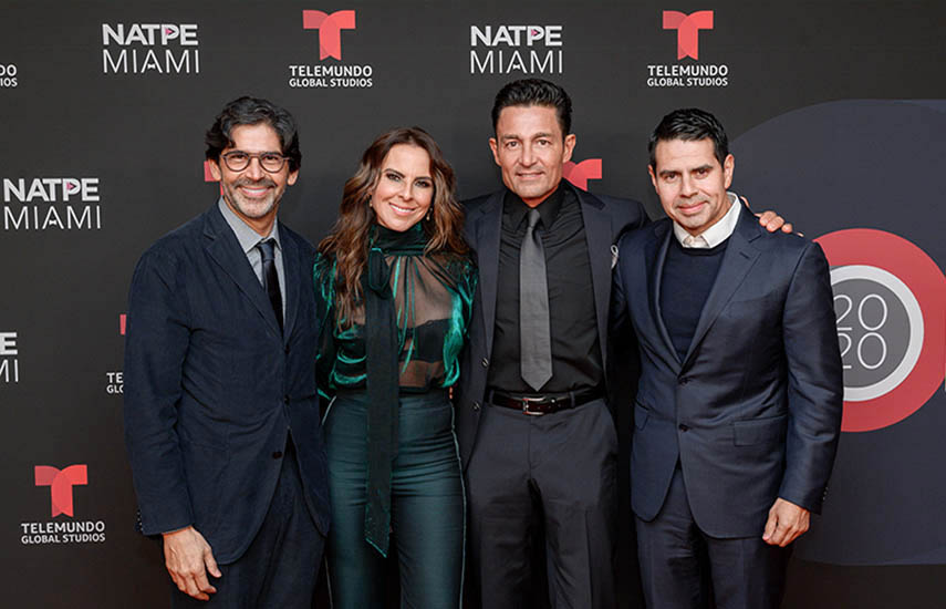 Marcos Santana, presidente de Telemundo Global Studios; Kate del Castillo; Fernando Colunga y César Conde, chairman de NBCUniversal Telemundo Enterprises y NBCUniversal International.