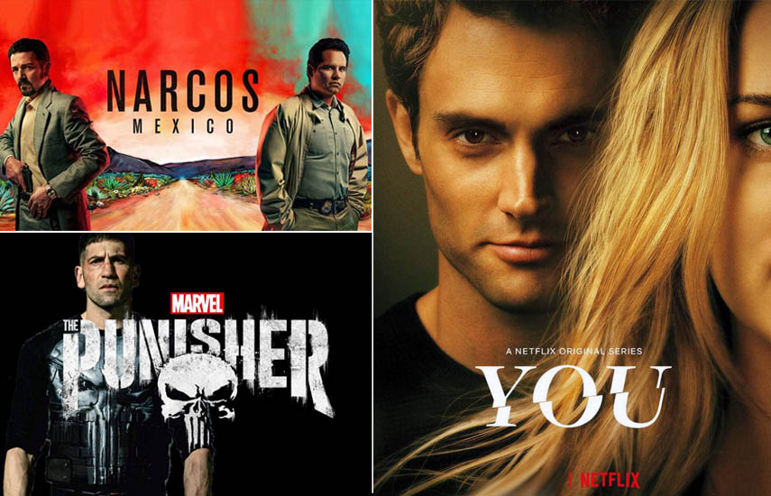"Las series ""You"", ""Marvel's The Punisher"" y ""Narcos"", encabezan la lista de las más vistas."