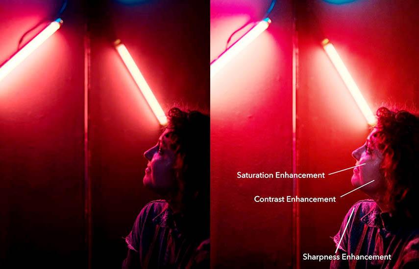 La función NightVision Adaptativa de VisualOn se basa en un algoritmo avanzado que analiza el video, en tiempo real, para el contraste, el brillo, la saturación de color y las métricas clave.